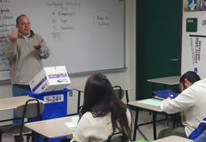 """Matthew Martinez, who was born deaf, teaches his American Sign Language course at Westside High School. """"Deaf people can do anything except hear,"""" Martinez said, quoting former president of Gallaudet University, I. King Jordan. - Silesha Walker"""